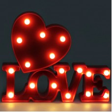3D LED LOVE Sign Table Lamp With Heart