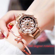 Luxury Magnetic Strap Women Rotation Dial Diamond Watch