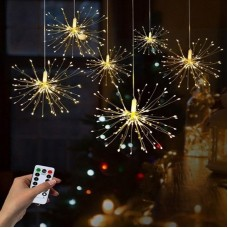 Waterproof LED Remote Control Firework Hanging Starburst Fairy Lights For Home And Outdoor Decorations