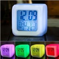 Digital 7 Color Glowing Cube Desk Alarm Clock