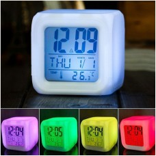 Digital 7 Color Glowing Cube Desk Alarm Clock