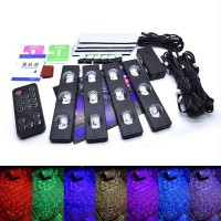Music Activated 4 Pcs Multi Color Car LED Floor Foot Star Lights With Remote