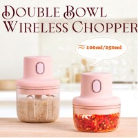 250ML Double Bowl Rechargeable Powerful Mini Electric Food Garlic Chopper