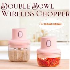 250ML Double Bowl Rechargeable Powerful Mini Electric Food Garlic Chopper