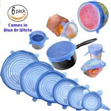 Pack of 6 Reusable and Stretchable Silicon Lids For Fruits, vegetables and Containers