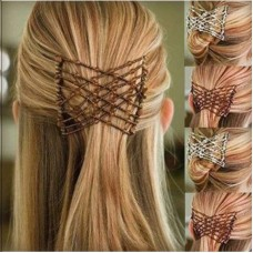 Pack of 3 Beads Stretchy Magic Hair Comb Clip