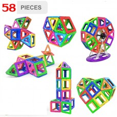 Learning & Creative 58 PCS  Magical Magnetic Construction Blocks Set