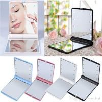 Women 12V Battery Powered 8 LED Foldable Lighted Makeup Mirror