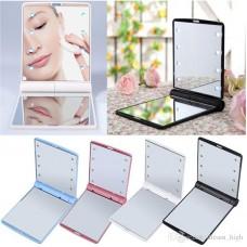 Women 12V Battery Powered 8 LED Foldable Lighted Makeup Mirror