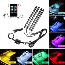 Music Activated 4 Pieces Multi Color Car LED Strip Light With Remote