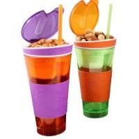Snackeez Plastic 2 in 1 Snack & Drink Cup